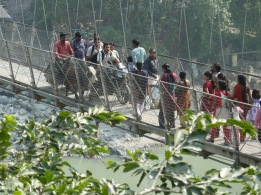 "Laxman Jhula bridge; view from ""devraj's coffee corner"""