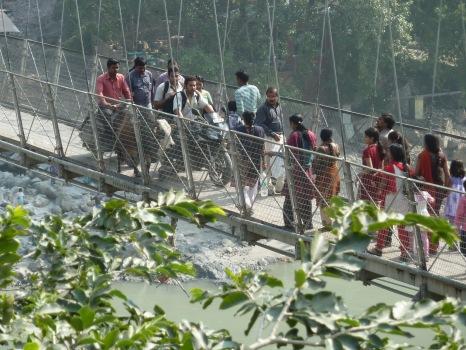 "Laxman Jhula bridge; view from ""devraj's coffee corner"""